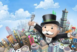 Mr. Monopoly over the playing field and the city