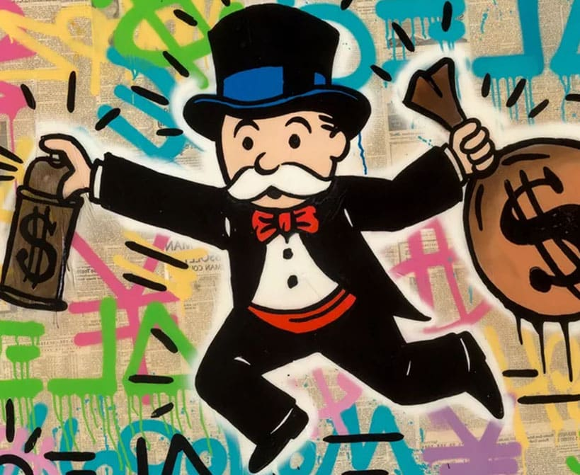 Mr. Monopoly with a bag of money in his hands